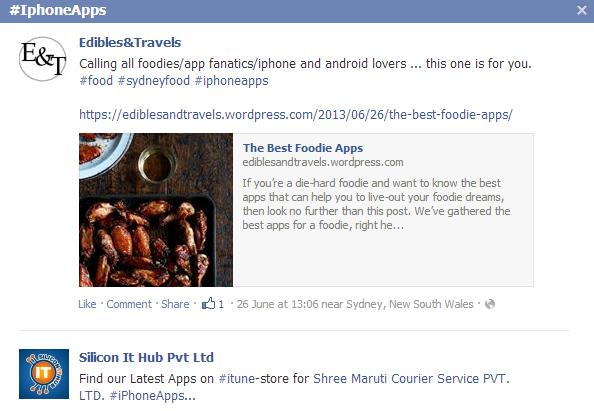 Facebook users may find related information based on the hashtags created