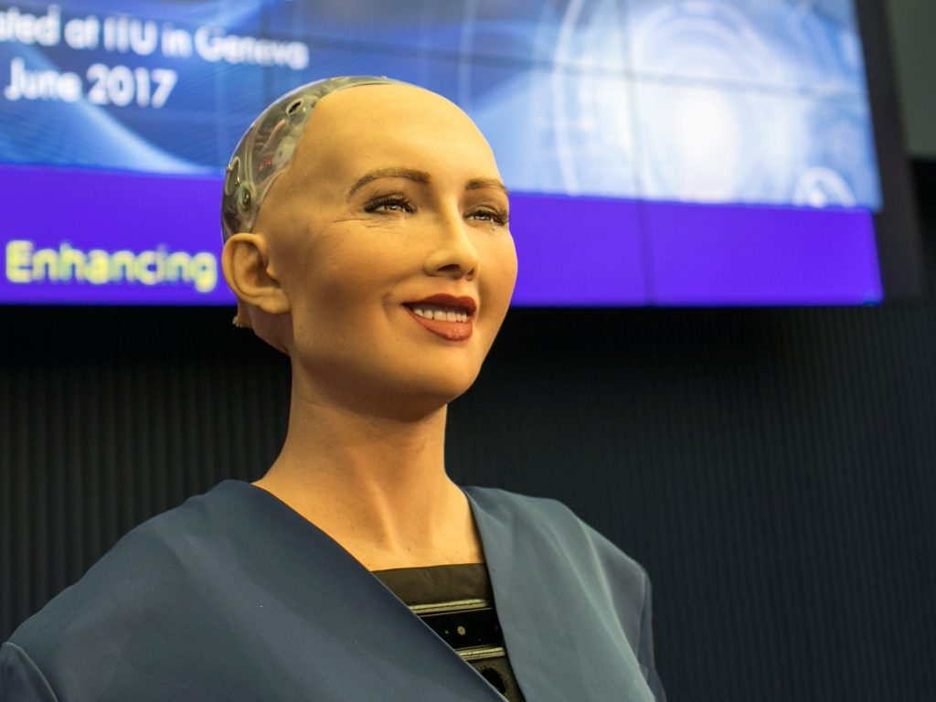 A picture of Sophia the Robot.